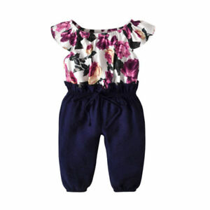 2ad51144 Details about Toddler Baby Girls Floral Lace Up Romper Jumpsuit Bodysuit Clothes  Outfit Kids