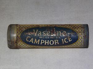 VINTAGE-MEDICINE-AD-VASELINE-CAMPHOR-ICE-METAL-TIN-TUBE