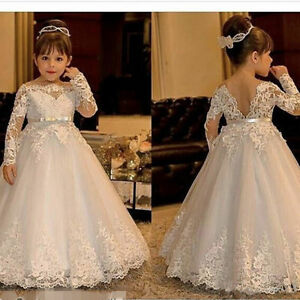 f1f1842e2 Image is loading Long-Sleeve-Lace-Flowers-Girls-Dress-for-Weddings-