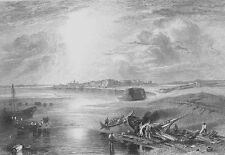 SUEZ CANAL RED SEA EGYPT BOATS SHIP ~ Antique 1835 Landscape Art Print Engraving