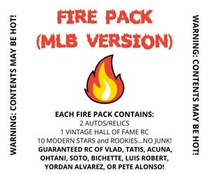 MLB FIRE Hot Pack! Mystery w/ 2 autos/relics, 10 Stars/RCs, 1 vintage RC, more!