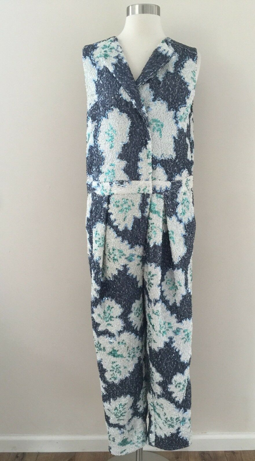 NEW J.CREW COLLECTION FLORAL SEQUIN PLEATED JUMPSUIT ROMPER 6 ONE OF A KIND RARE