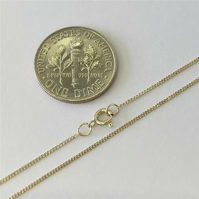 "10K 16"" Inch .8mm Solid Yellow Gold Ladies Cuban Curb Chain Pendant Necklace"