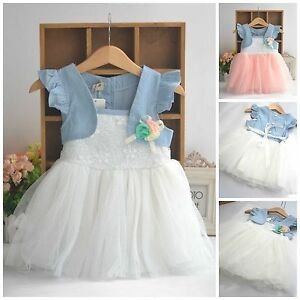 a71555460334 Toddler Wedding Birthday Denim White Pink Summer Cheap Baby Girl ...