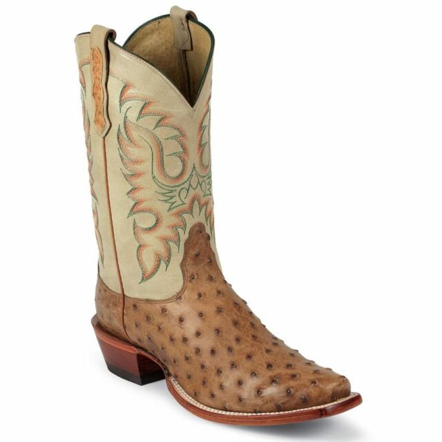 ef4963b45ee Nocona Men's Cognac Full Quill Ostrich Western Cowboy Boot Square Toe -  MD6512