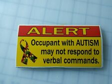 Custom vinyl decal sticker ALERT Occupant with Autism may not respond  5.5x3