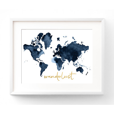 Watercolour Wanderlust A4 Print with Gold Foil