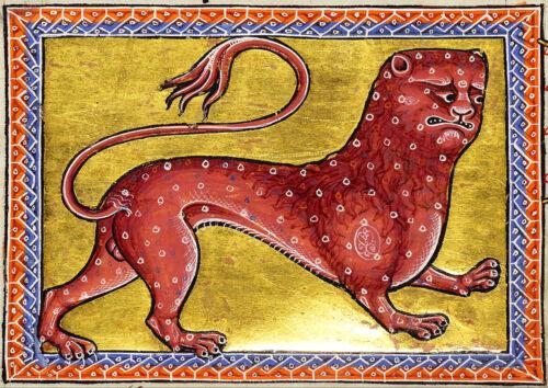 Leopard 12th Century Illuminated Manuscript Print//Poster Aberdeen Bestiary