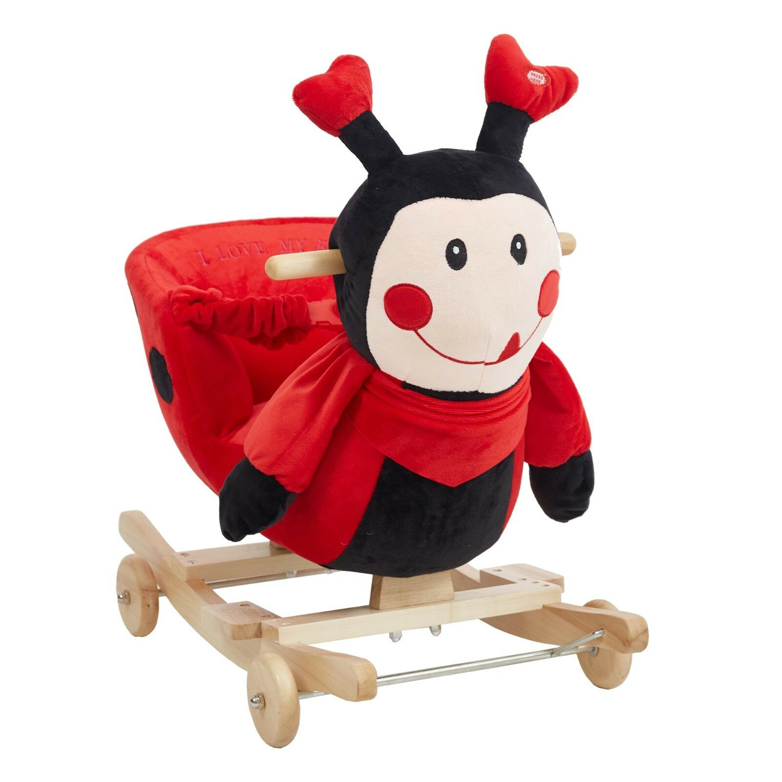 Details About Children Kids Rocking Horse Plush Red Ladybug Ride On Toy Seat Belt With Rhymes