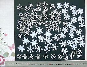 100-SNOWFLAKES-6-Styles-WHITE-Satin-amp-Felt-SILVER-Sparkle-25to35mm-Sizes-L6