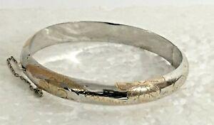 Vtg-solid-sterling-silver-925-Vermeil-HINGED-BANGLE-2-25-034-BRACELET-925-etched