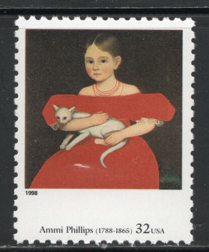 BY AMMI PHILLIPS ** US POSTAGE STAMP MINT Girl In Red Dress With Cat