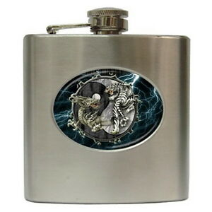 Dragon tiger yin yang stainless steel hip flask 6 oz for for Dragon gifts for men
