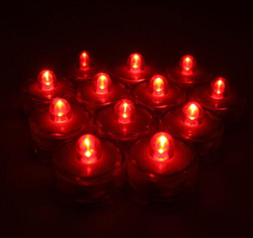 96 PCS~RED LED Submersible Tea Lights~Waterproof Wedding Decor