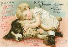 Anuncio De Perfume Vintage Chica con perro Hoyts German Cologne cartel impresión