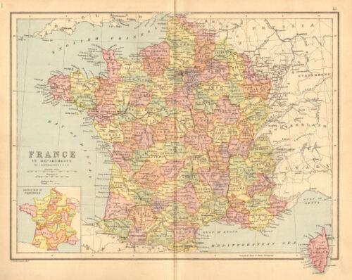 /'France in Departments/' w//o Alsace Lorraine /& Menton BARTHOLOMEW 1876 map