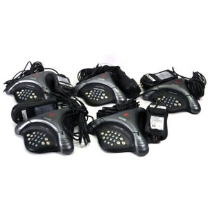 (Lot of 5) Polycom VoiceStation 300 2201-17910-001 Conference Telephones w/ PSU