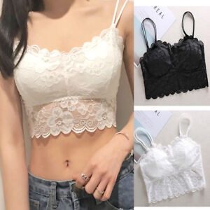 545d48835688f4 Women s Sleeveless Lace Vest Crochet Tank Tops Blouse Bralette Bra ...