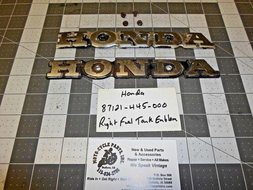 HONDA CB750F 87121-445-000 RIGHT FUEL TANK BADGE USED 1 QTY OEM FREE SHIPPING