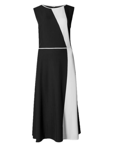 X1.12 Ex Marks and Spencer Collection Robe Noir Ivoire occassion taille 10-20