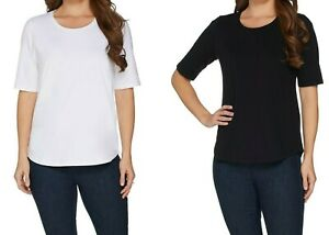 Denim-amp-Co-Essential-Set-of-Two-Elbow-Sleeves-Knit-Top-Blk-White-X-Large-Sz-QVC