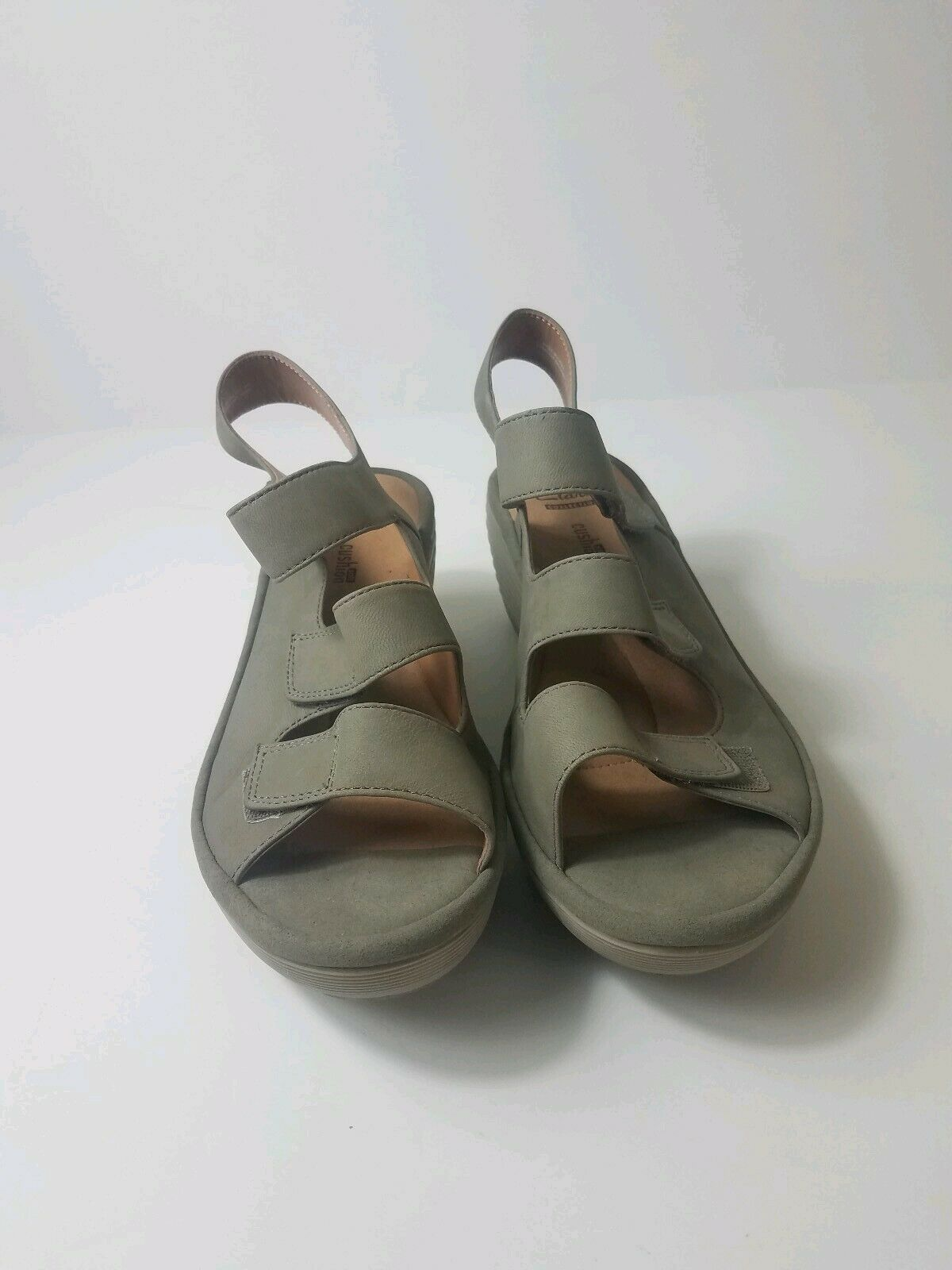 Clarks Collection Soft Cushion Beige Suede Wedge Sandals - Size 6 1 2 W