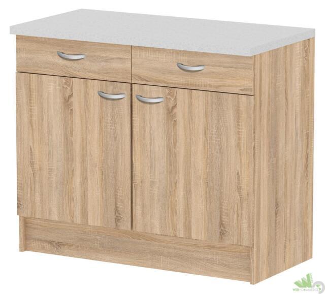 Mobile cucina 2 ante 2cassetti 96x50xh85 legno Col. Quercia Piano ...