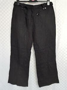 026019f29f Ladies H&M 100% Linen Cargo Trousers Size 14 26L Black Straight ...