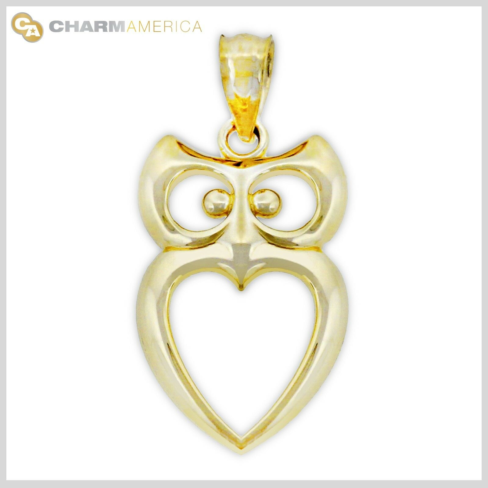 gold Owl with Heart Charm, 10k Solid gold