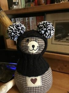 Hand Knitted Black/silver/white Sparkle Twin Pompom ...