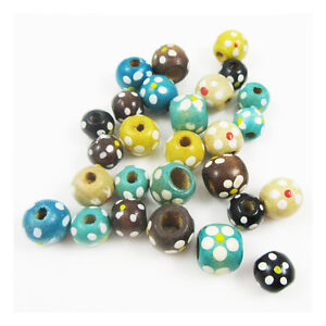 HAND-PAINTED-WOODEN-BEADS-7-COLOURS-2-SIZES-BEADING-CRAFTS-JEWELLERY-MAKING