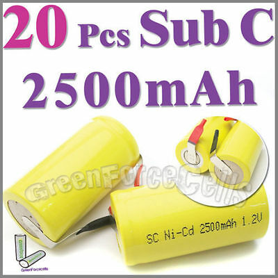 20 Pcs 2500mAh SubC Sub C NiCd Rechargeable Battery Tab