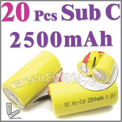20 Pcs 2500mAh SubC Sub C NiCd Rechargeable Battery Tab