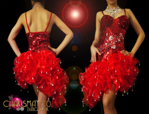 Red sequined and beaded asymmetrical salsa dress with Organza ruffles