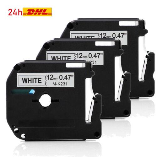 3x Schriftband für Brother P-touch MK-231 schwarz auf weiß PT-65SB PT-70SR PT-90