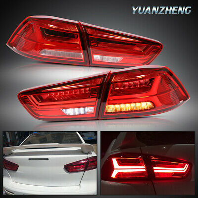 Red Full LED Tail Light Assembly with Sequential Turn Signals and DRL Bars YUANZHENG LED Tail Lights for Mitsubishi Lancer EVO X 2008-2017