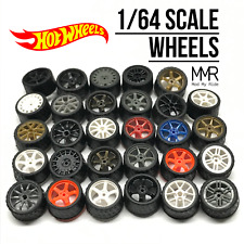 Hot Wheels 164 Scale Custom Real Riders Wheels Rims Rubber Tires Set