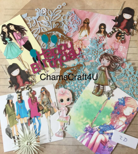 paper die cuts Craft clearout mix card toppers bundle job lot girls 2D
