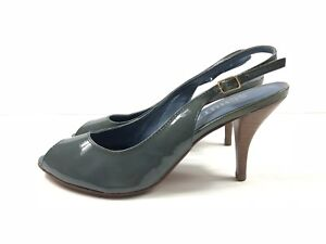 98370ebced Image is loading Schutz-Womens-Pale-Blue-Patent-Leather-Slingback-Size-