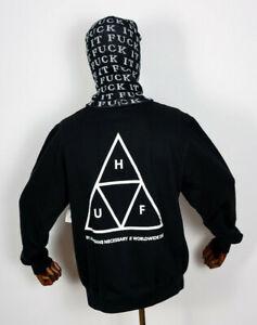 Huf-Worldwide-Sweatshirt-Sweat-Crewneck-Hoodie-Crew-Triple-Triangle-Black-in-S