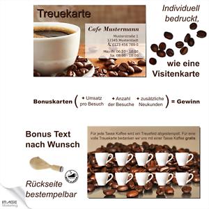 Kaffee Pass Treuekarten Bonuskarte Rabattkarte individuell für Sie bedruckt
