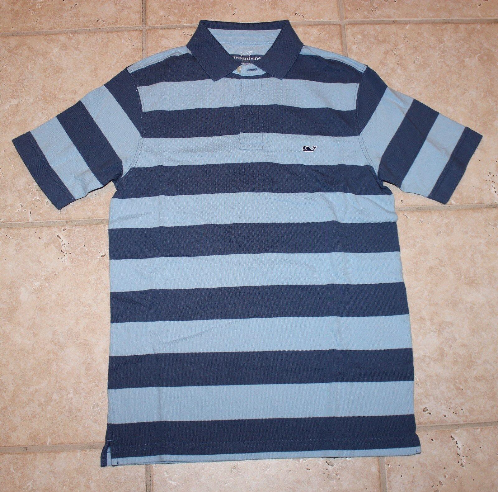 NWT Vineyard Vines Mens Small bluee Moonshine Slim Fit Polo Captain Stripe Shirt