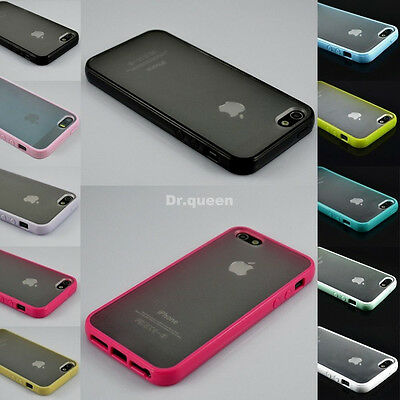 TPU Bumper Frame With Matte Clear Hard Back Skin Case Cover for iPhone 4/4S/5/5S
