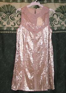 ENTRO-Boho-Cowgirl-Beige-Crushed-Velvet-Lace-Sleeveless-Western-Dress-S-L