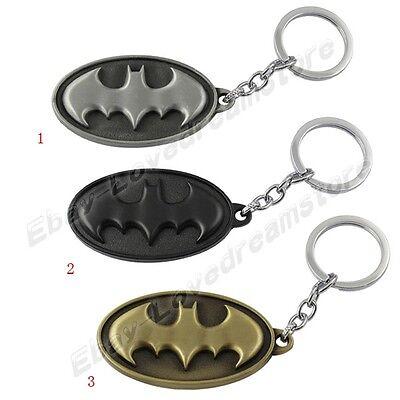 Batman Shield Logo Pewter Metal Key Ring Chain