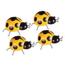 4 Pieces Iron Yellow Ladybug Wall Gardens Insect Hanging Ornaments 10cm