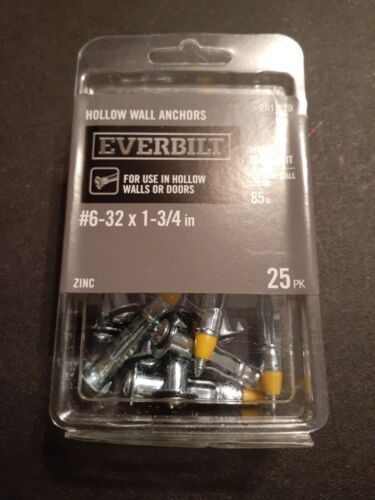 EVERBUILT #6-32 x 1-3//4 in Zinc-Plated Steel Hollow Wall Anchors 25 ct.