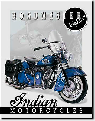 Indian Motorcycle Roadmaster Eighty Metal Sign Tin New Vintage Style USA  #1084