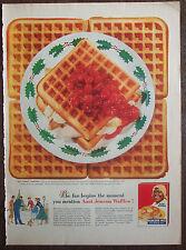 """Print Ad 1955 Aunt Jemima Pancake Waffle Mix, 10.5""""x14"""" VG+"""