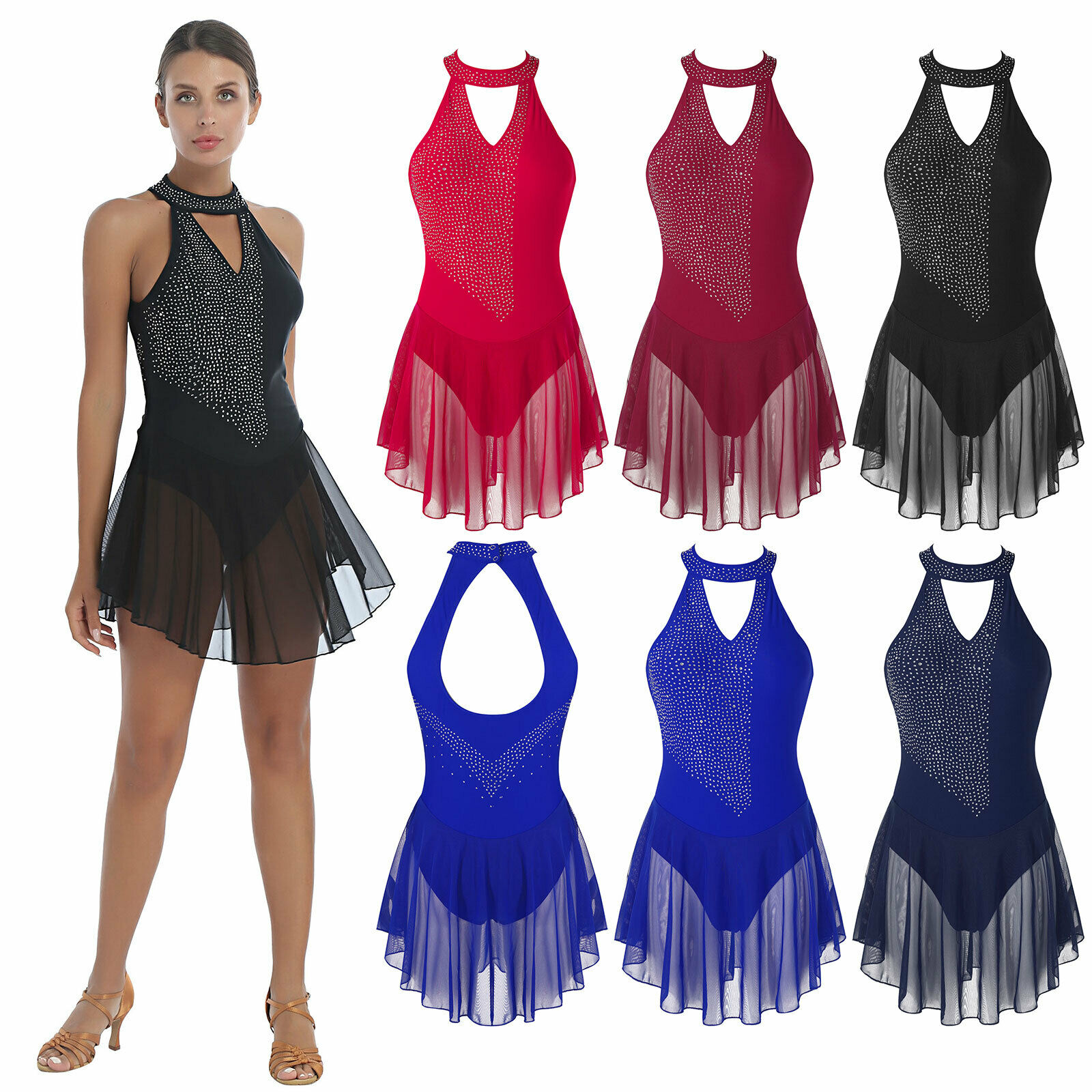 Women's Gymnastics Leotard Dance Dress Shiny Backless Figure Skating Skirted